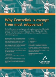 Centrelink exempt from most subpoenas